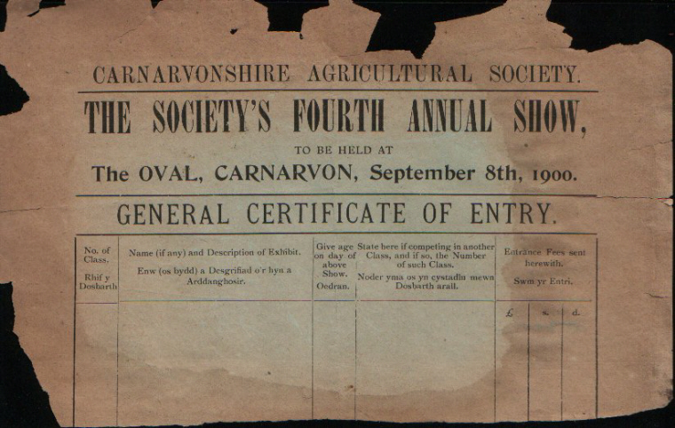 Carnarvonshire Agricultural Show 1899 Entry Form. Used as notepaper. Handwritten on back is 'Genedl did not come here 4.35 p.m. last week nor today. R. G. Humphreys. Portmadoc