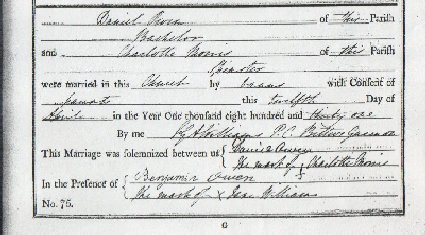 The marriage entry for Daniel Owen & Charlotte Morris at Llanbeblig Church � Gwynedd Archives Service