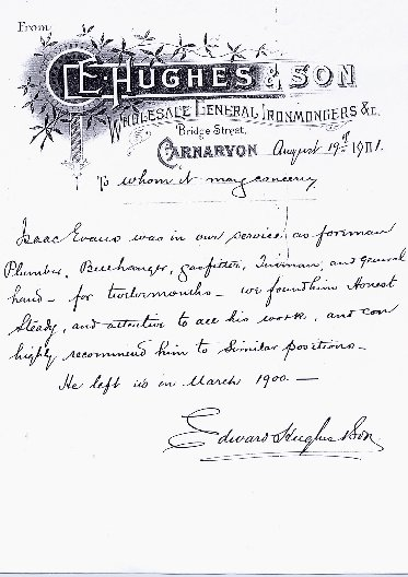Edward Hughes, Ironmonger, Bridge Street. Letter of reference. Dated August 19th. 1901.