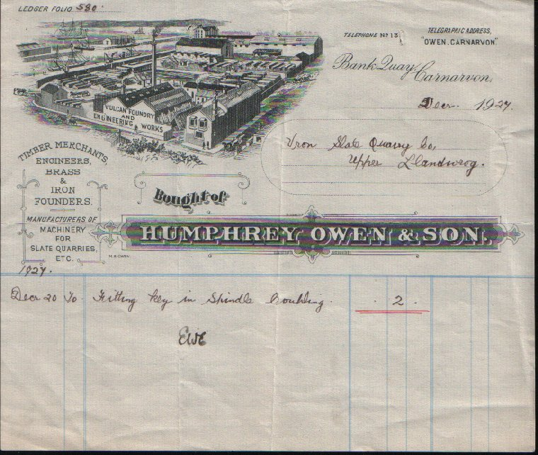 Humphrey Owen, Timber Merchants, Engineers, & Brass & Iron Founders, Bank Quay. Dated December 1927.