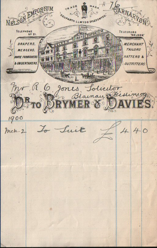 Brymer & Davies, Nelson Emporium, Bridge Street. Dated March 2nd. 1900.
