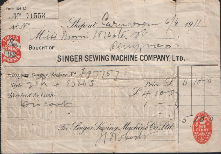 Singer Sewing Machine Company. Dated June 6th, 1911.