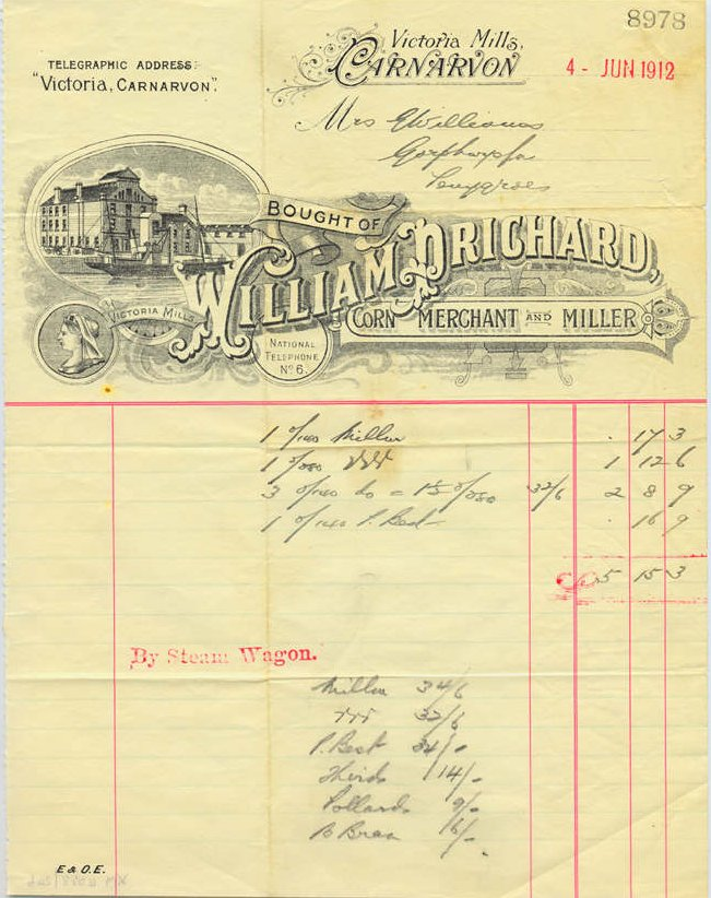 William Prichard, Corn Merchant & Miller, Victoria Mills. Dated June 4th. 1912.